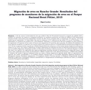 Migración de aves en Rancho Grande:Resultados del monitoreo de la migración de aves en el Parque Nacional Henri Pittier, 2015