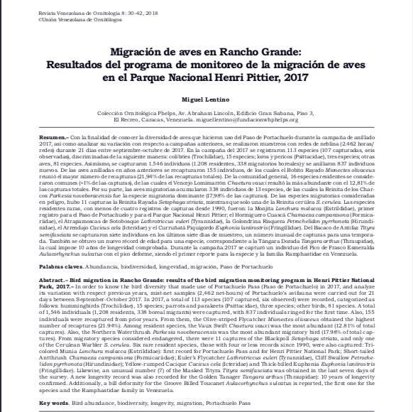 Migración de aves en Rancho Grande: Resultados del programa de monitoreo de la migración de aves en el Parque Nacional Henri Pittier,2017